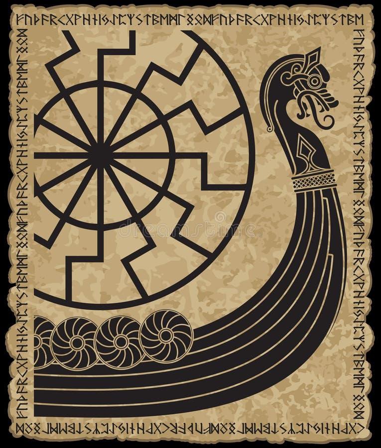 Navio de guerra dos Viquingues Drakkar, teste padrão escandinavo antigo e runas dos noruegueses ilustração do vetor