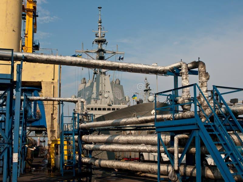Navio de guerra em Oddesa imagem de stock royalty free