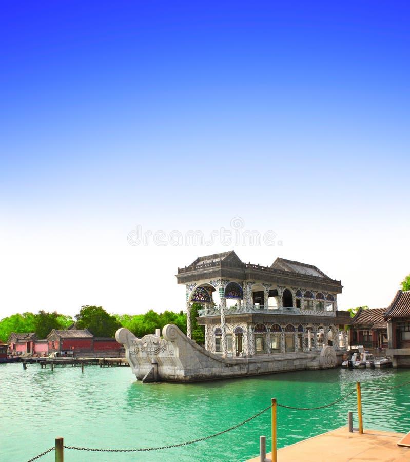 Navio de mármore Shi Fang, palácio de verão, Pequim, China imagem de stock