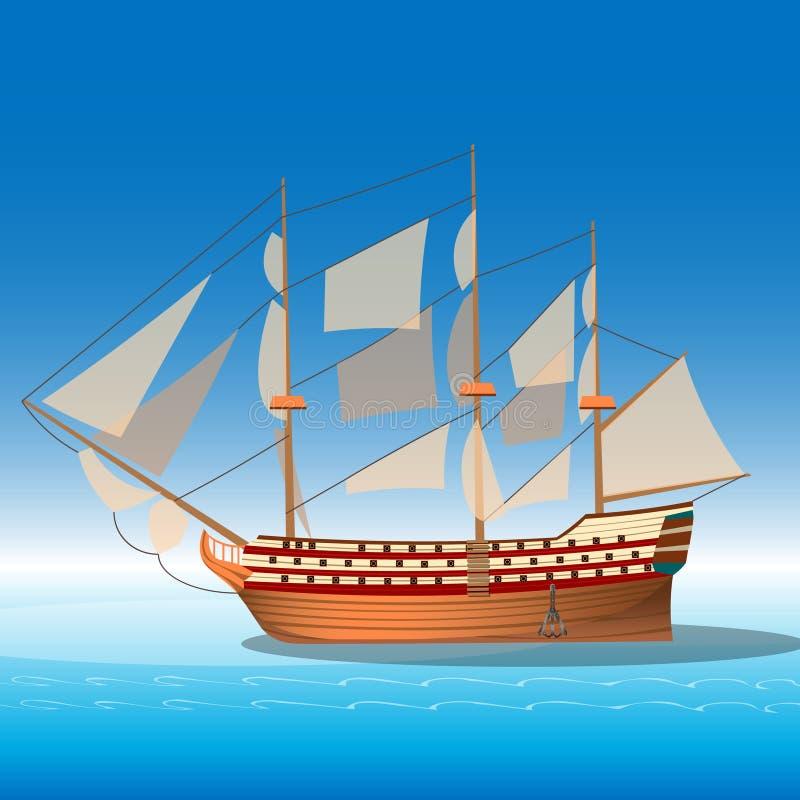 Navio de madeira no mar ilustração do vetor