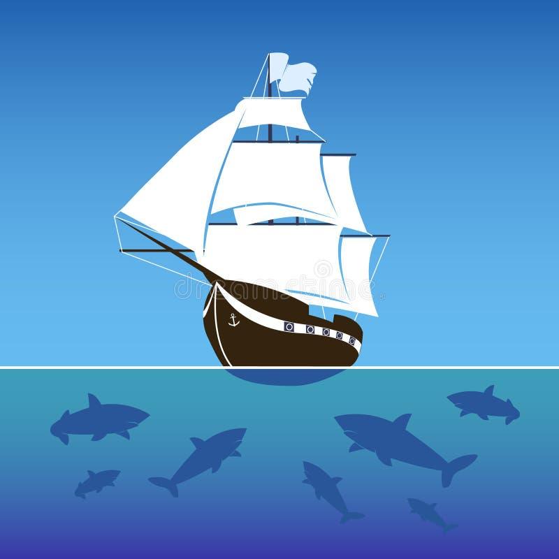 Navio de navigação cercado por tubarões no mar ilustração do vetor