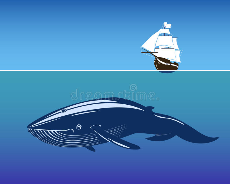 Navio de navigação e baleia enorme dentro profundamente ilustração royalty free