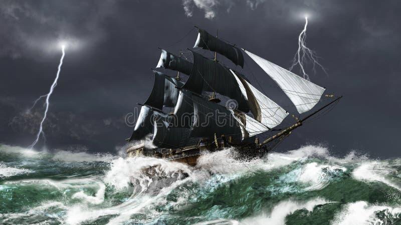 Navio de navigação em uma tempestade do relâmpago ilustração do vetor