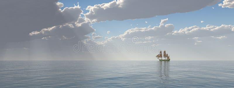 Navio de navigação na distância ilustração do vetor