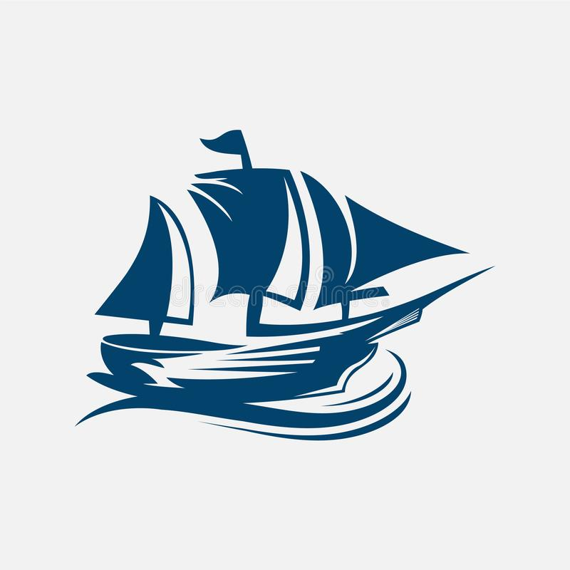 Navio de navigação, veleiro, embarcação de navigação velha sob velas completas e bandeiras em mastros ilustração royalty free