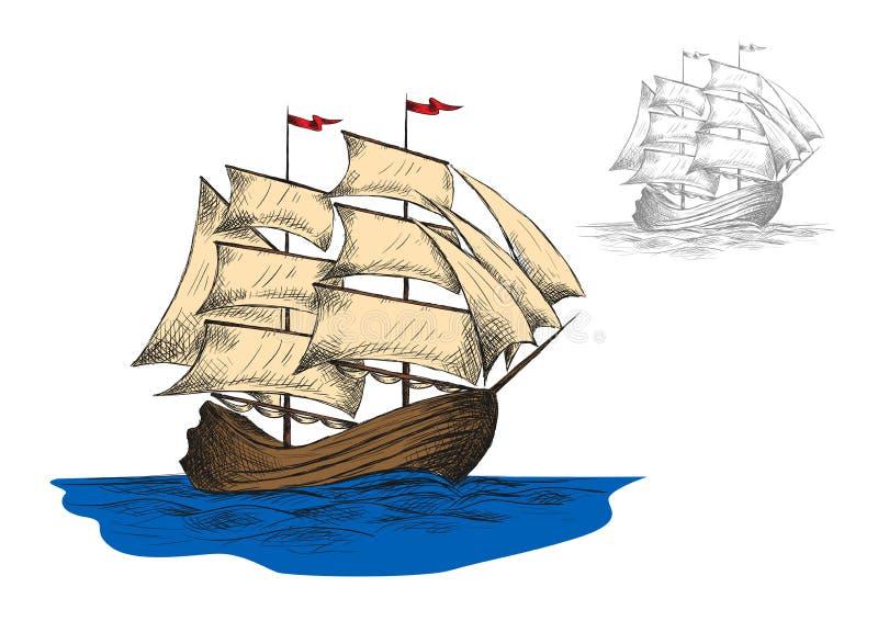Navio de navigação velho entre ondas de oceano ilustração do vetor