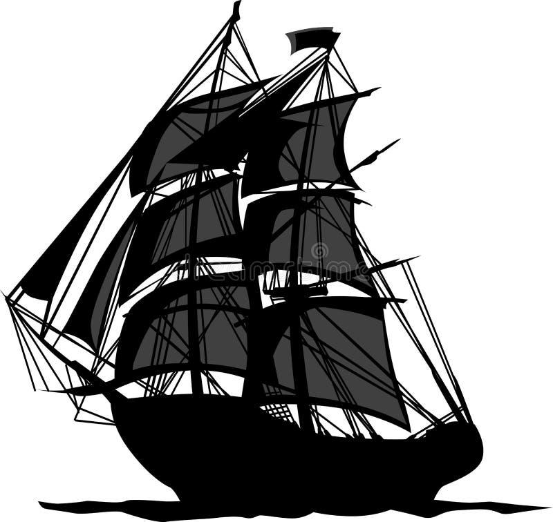 Navio de pirata com ilustração das velas ilustração stock