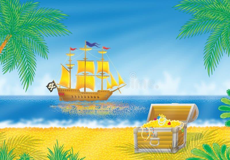 Navio de pirata e caixa de tesouro