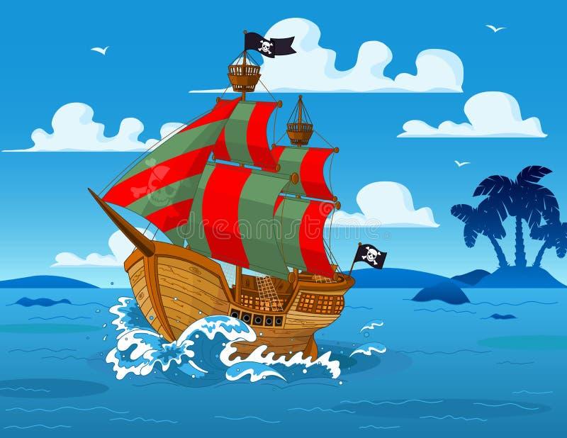 Navio de pirata no mar ilustração stock