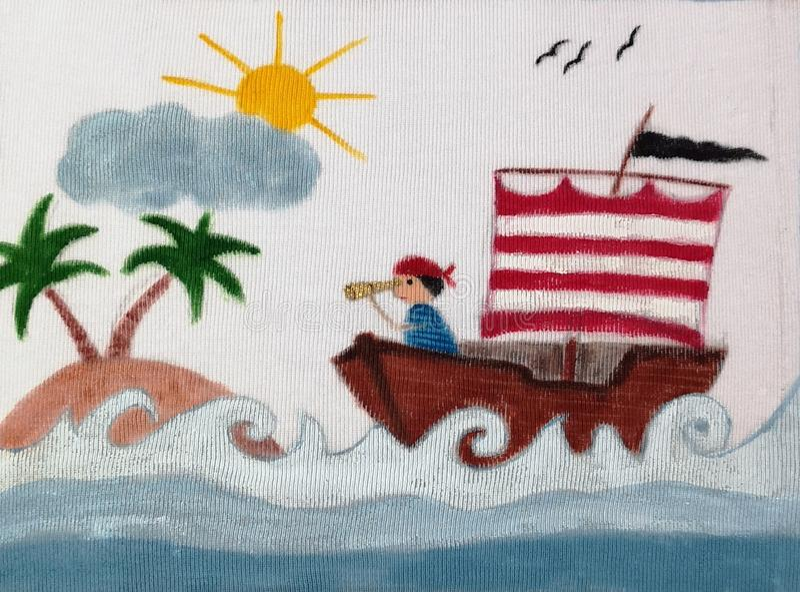 Navio de pirata no mar - ilustração pintada ilustração stock