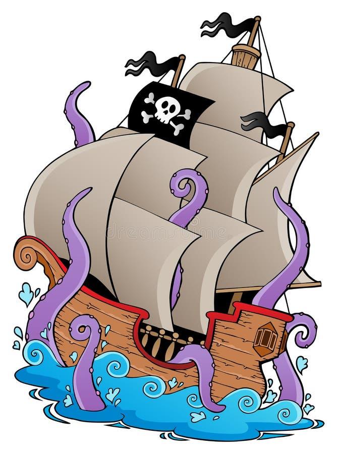 Navio de pirata velho com tentáculos ilustração royalty free