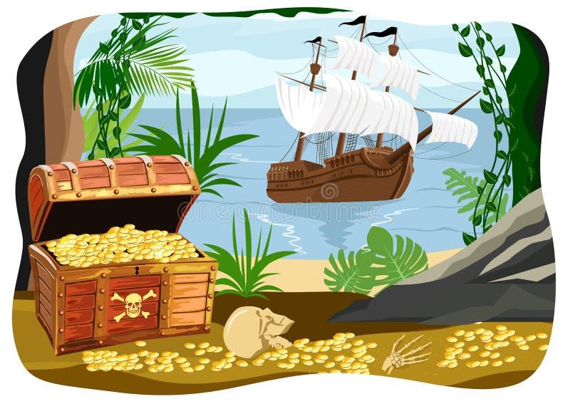 Navio de pirata visível de uma caverna ilustração do vetor