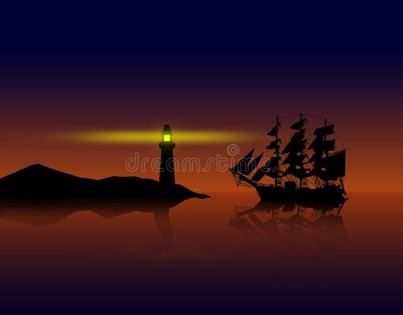 Navio de piratas contra o por do sol ilustração stock
