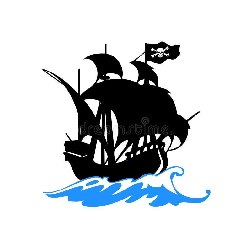 Navio de piratas no vetor do mar ilustração royalty free