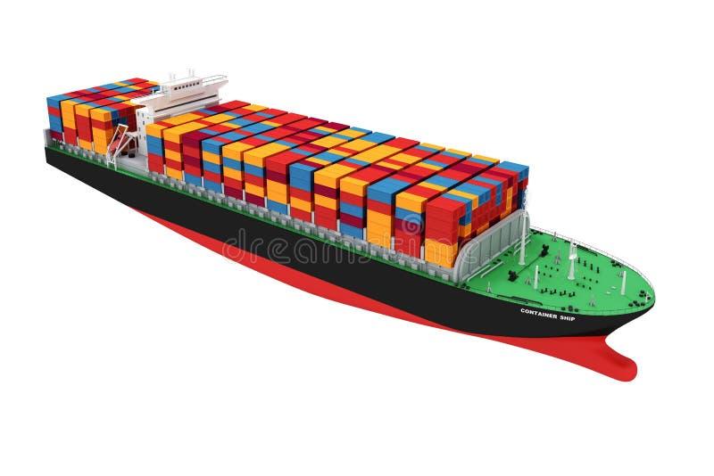 navio de recipiente da carga 3d ilustração do vetor