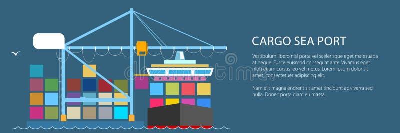 Navio de recipiente da carga no porto ilustração royalty free