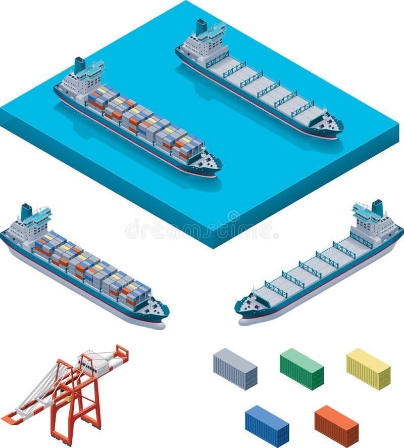 Navio de recipiente do vetor com guindaste ilustração stock