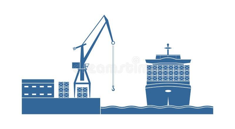 Navio de recipiente na porta ilustração stock
