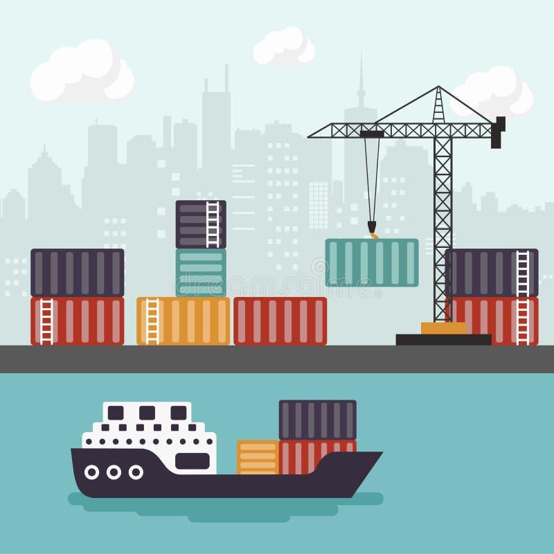 Navio de recipiente no descarregamento terminal do porto do frete Comerciante Marine Vetor liso ilustração do vetor