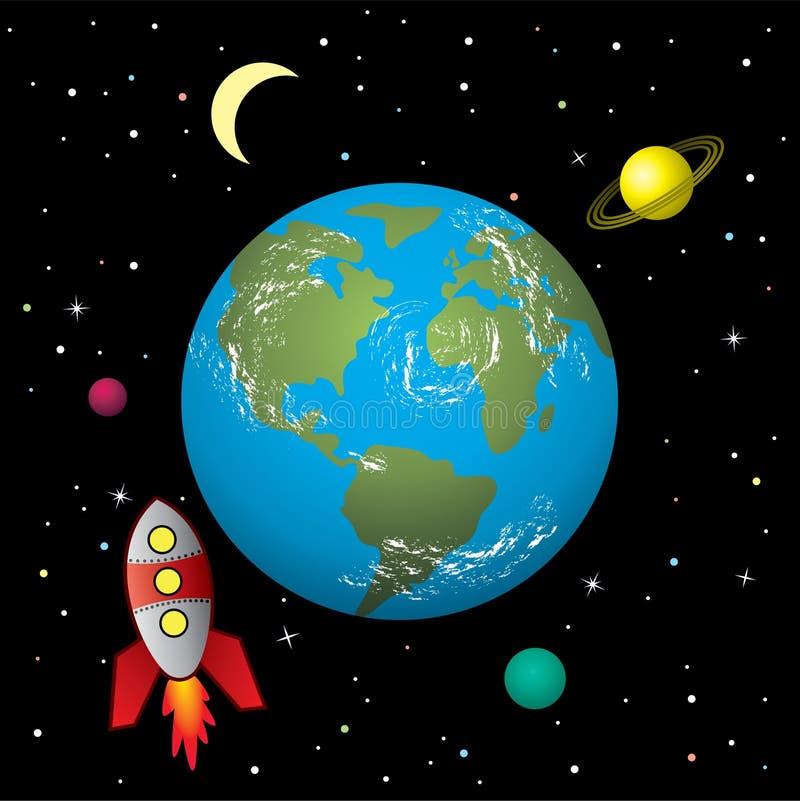 Navio de Rocket no espaço ilustração royalty free