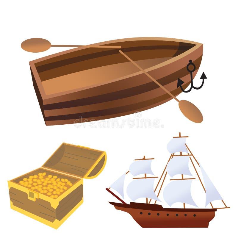 Navio do fantasma da embarcação do corsair do navio de pirata ilustração royalty free