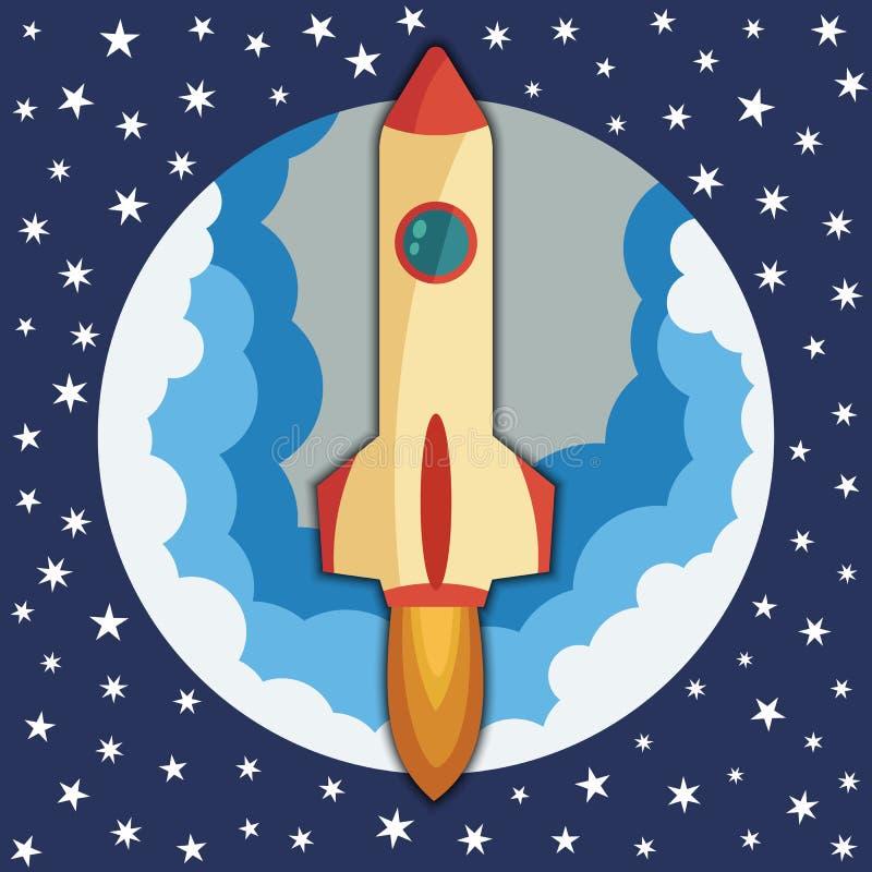 Navio do foguete de espaço na parte redonda Lançamento do foguete de espaço Conceito da partida do projeto e do processo de desen ilustração stock