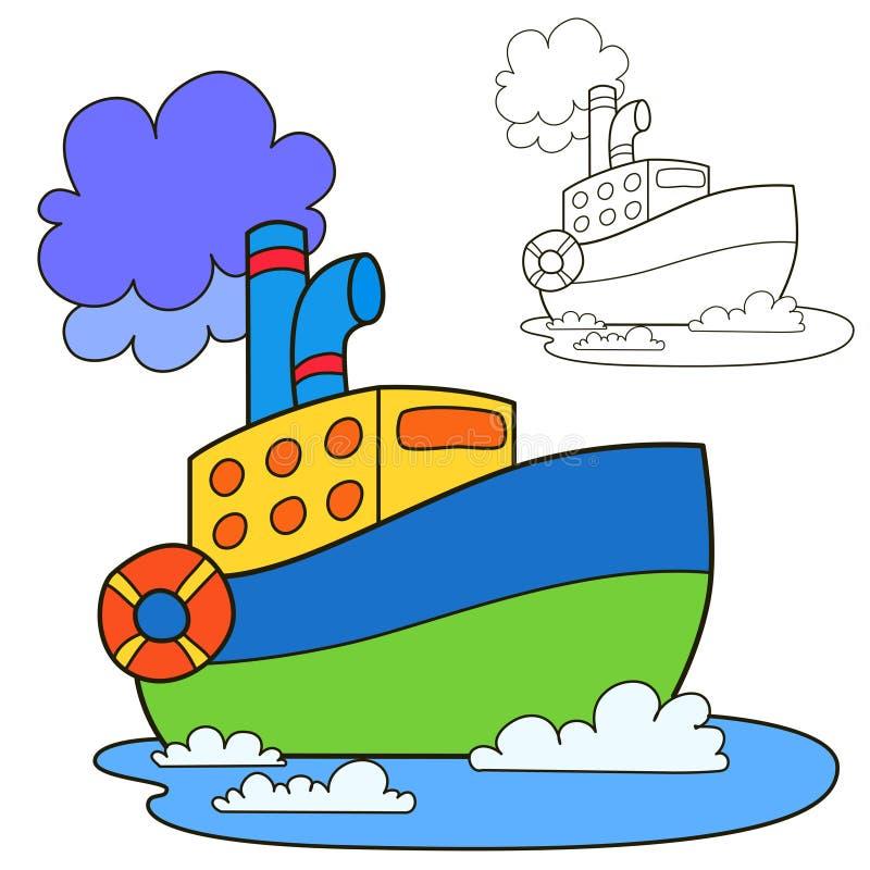 Navio do motor Página do livro para colorir ilustração royalty free
