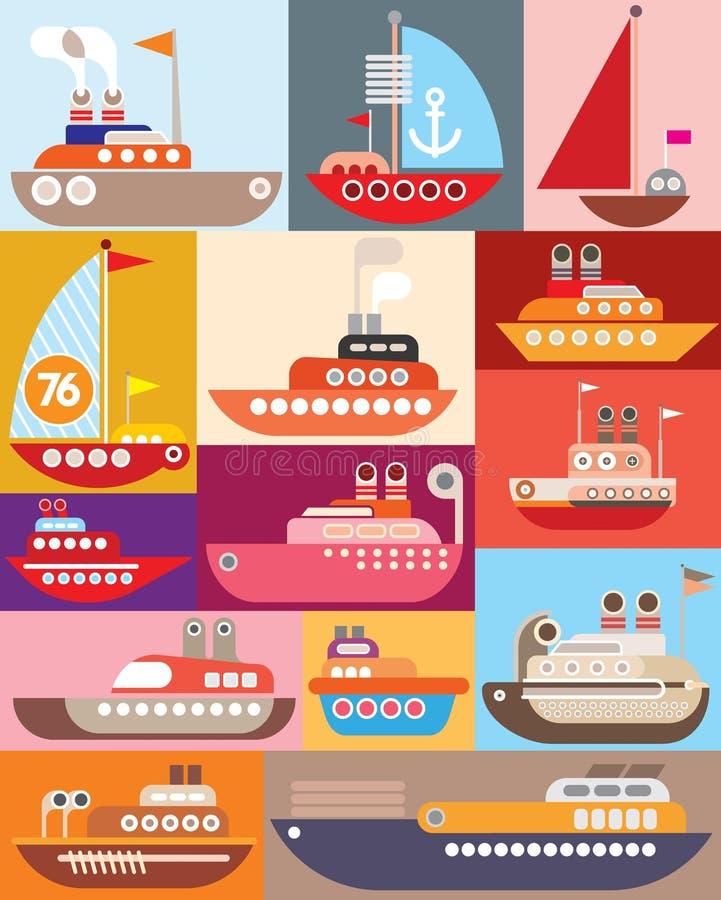 Navio e barco ilustração stock