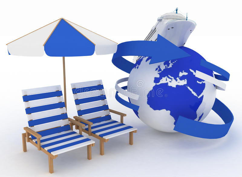 Navio e mobília de passageiro para a praia Conceito do cruzeiro do mar ilustração stock