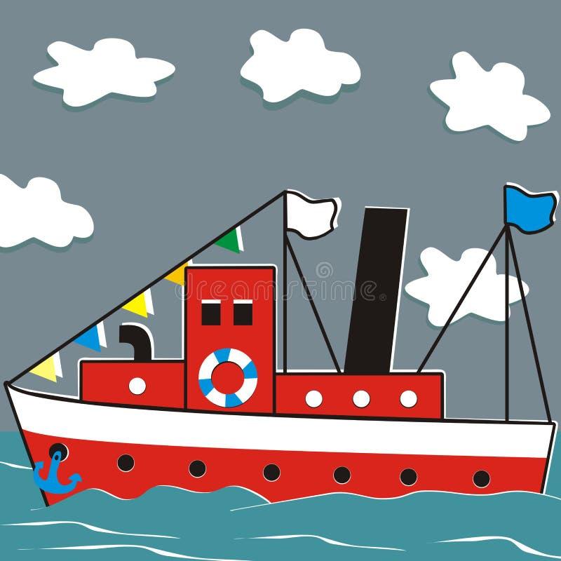 Navio e oceano ilustração stock