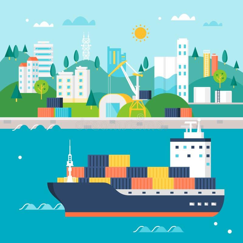 Navio e porto de carga do recipiente com guindastes, armazéns, tanques e construções Ilustração do transporte internacional ilustração royalty free