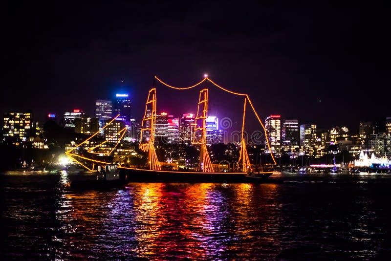 Navio 2015 e skyline de navigação de Sydney NYE fotos de stock