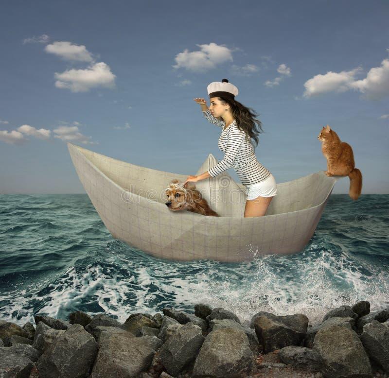 Navio e tempestade de papel imagem de stock royalty free