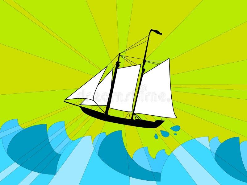 Navio em um mar tormentoso ilustração do vetor