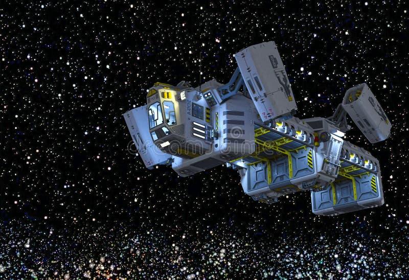 Navio espacial de carga no caminho de ordenha ilustração do vetor