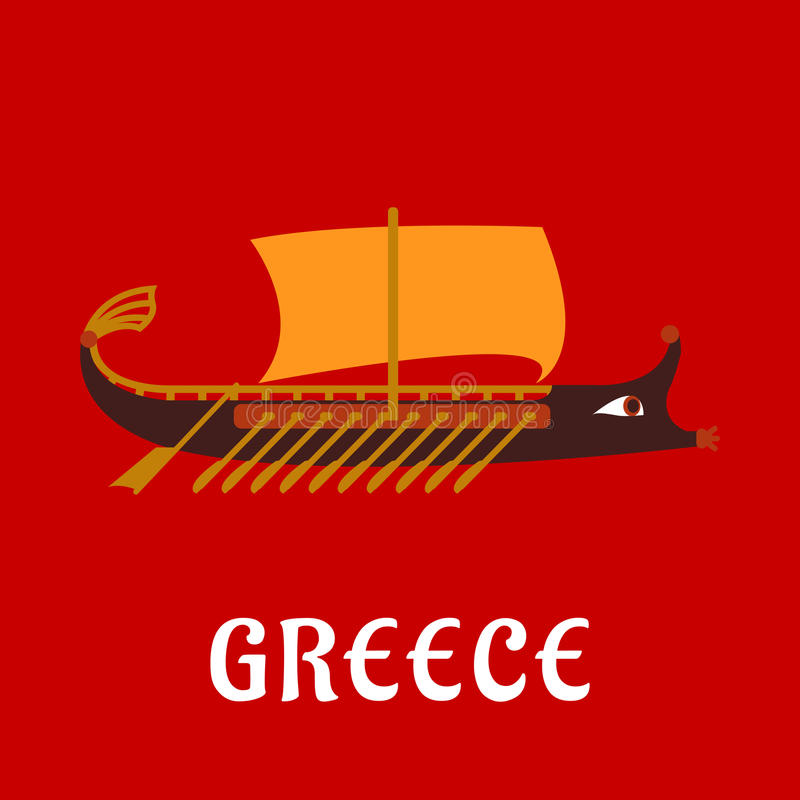 Navio grego liso antigo da galera da guerra ilustração stock