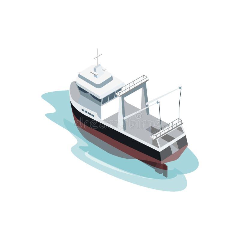 Navio industrial pequeno no oceano ilustração stock