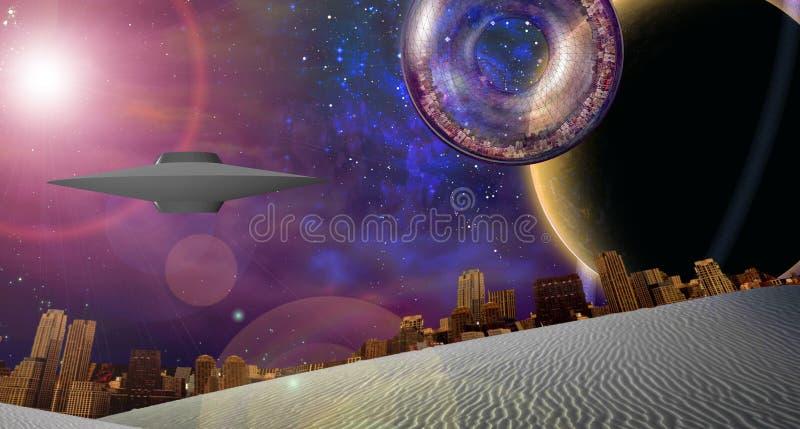 Navio Interstellar da cidade perto do planeta rodeado ilustração royalty free