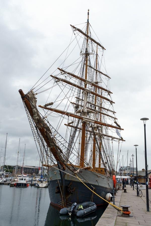 Navio Kaskelot na doca no porto de Plymouth, Barbican, Plymouth, Devon, Reino Unido, o 20 de agosto de 2018 imagem de stock royalty free