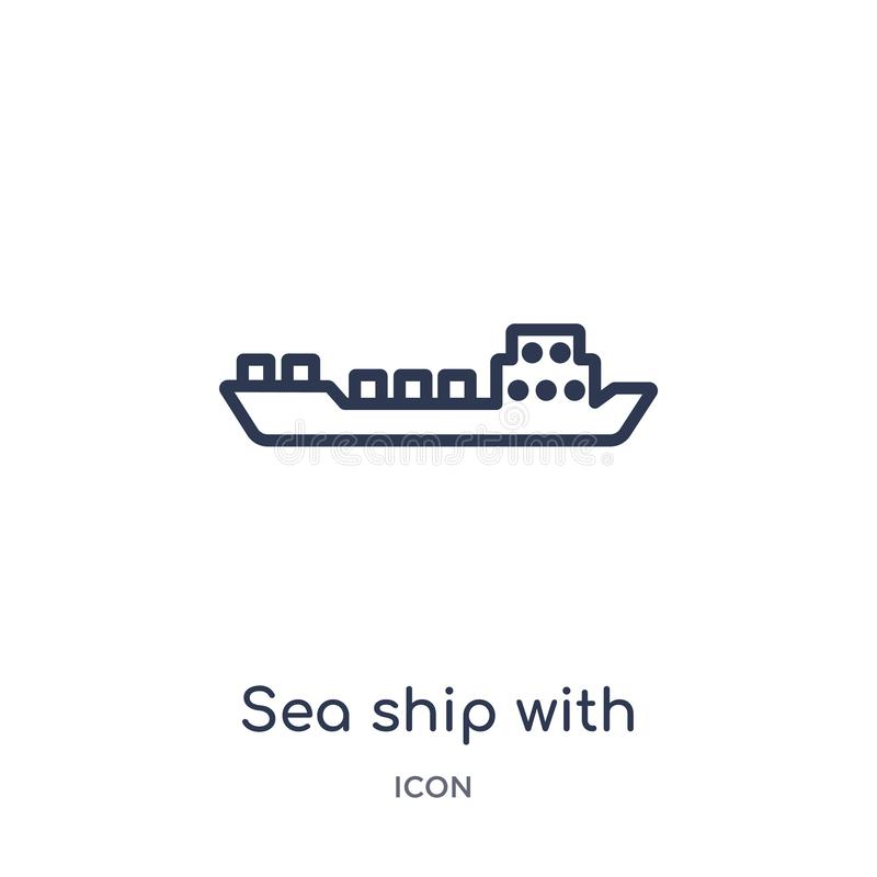 Navio linear do mar com ícone dos recipientes da entrega e da coleção logística do esboço Linha fina navio do mar com vetor dos r ilustração royalty free
