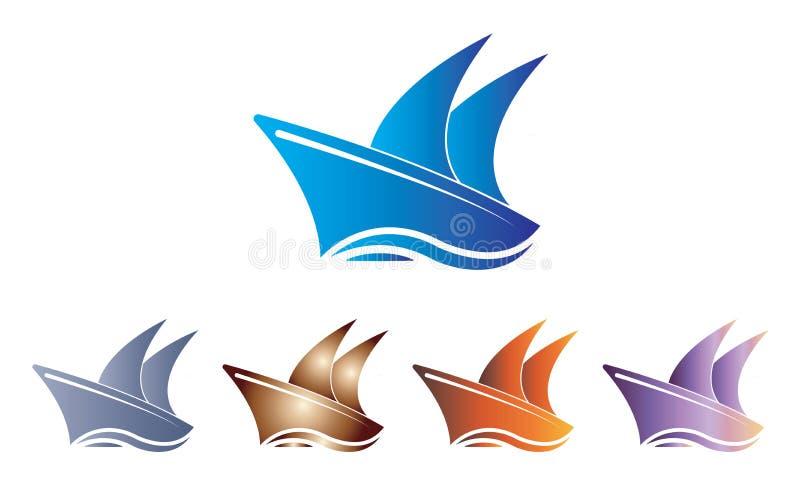Navio Logo Template da coleção - barco de navigação Logo Template - oceano Marine Ship Vetora ilustração do vetor