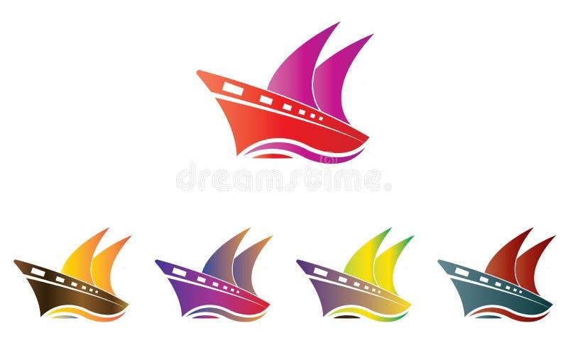 Navio Logo Template da coleção - barco de navigação Logo Template - oceano Marine Ship Vetora ilustração royalty free
