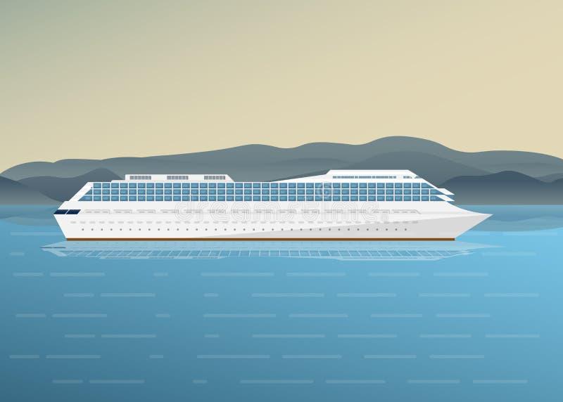 Navio, mar e montanhas ilustração do vetor