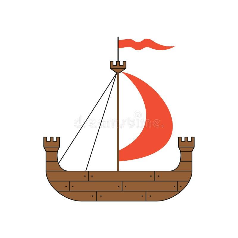 Navio medieval no fundo branco ilustração stock