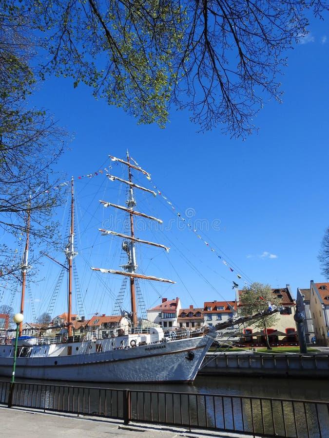 Navio Meridianas em Klaipeda, Lituânia foto de stock royalty free