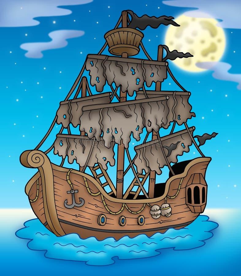 Navio misterioso com Lua cheia ilustração royalty free