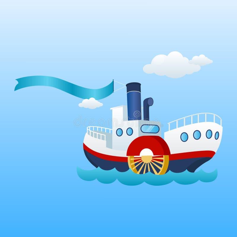 Navio náutico Barco da fita, da bandeira e de mar ilustração royalty free