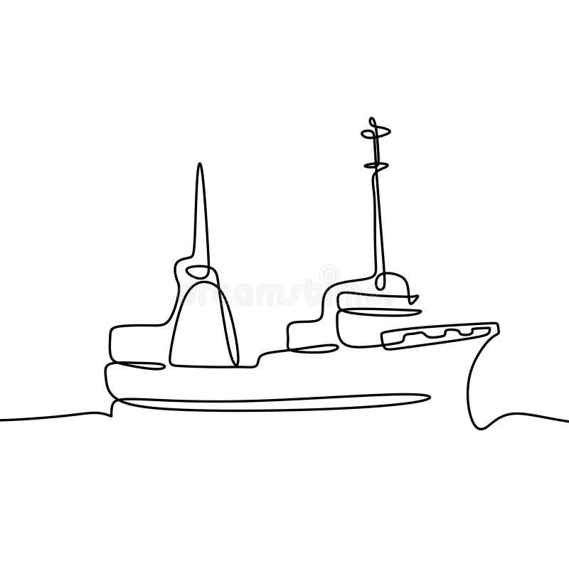 navio no a lápis desenho do mar um ilustração royalty free