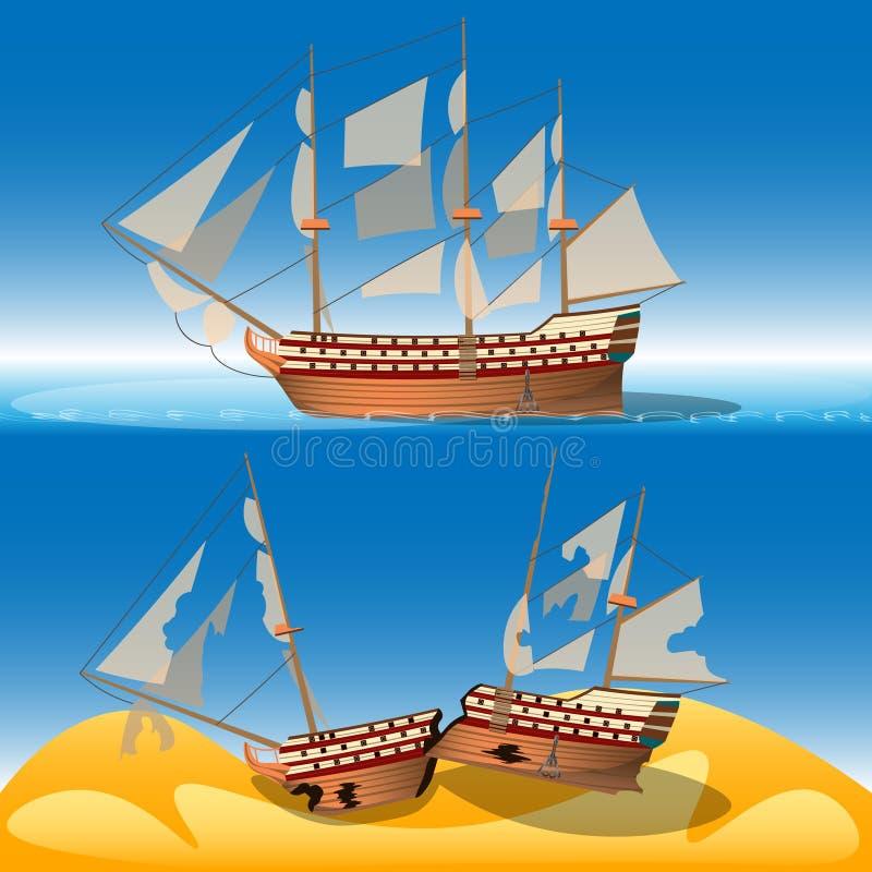 Navio no mar e no naufrágio ilustração do vetor