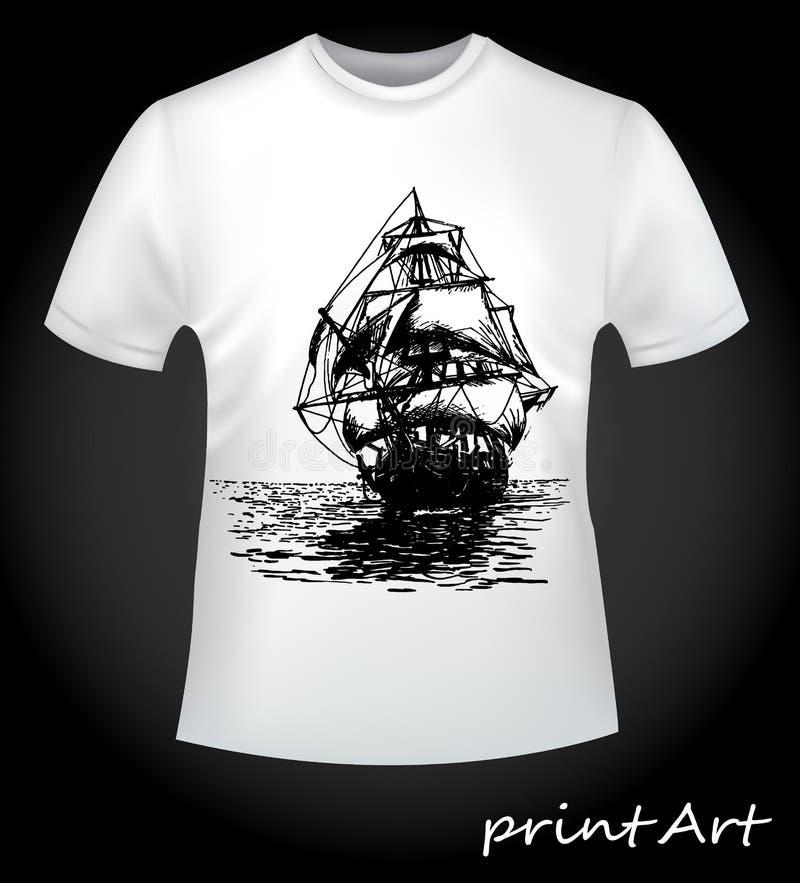 Navio no t-shirt ilustração do vetor